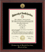 University of South Carolina School of Law Diploma Frame - Gold Engraved Medallion Diploma Frame in Signature