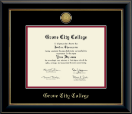 Grove City College Diploma Frame - Gold Engraved Medallion Diploma Frame in Onyx Gold