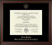 State University of New York  New Paltz Diploma Frame - Gold Embossed Diploma Frame in Studio
