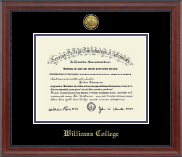 Williams College Diploma Frame - Gold Engraved Medallion Diploma Frame in Signature