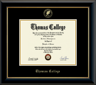Thomas College Diploma Frame - Gold Embossed Diploma Frame in Onyx Gold