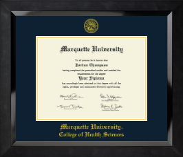 Marquette University Diploma Frame - Yellow Embossed Diploma Frame in Eclipse