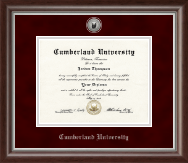 Cumberland University Diploma Frame - Silver Engraved Medallion Diploma Frame in Devonshire