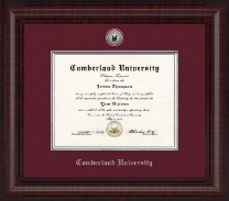 Cumberland University Diploma Frame - Presidential Silver Engraved Diploma Frame in Premier