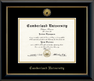 Cumberland University Diploma Frame - Gold Engraved Medallion Diploma Frame in Onyx Gold