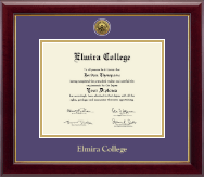 Elmira College Diploma Frame - Gold Engraved Diploma Frame in Gallery