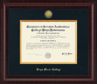 Bryn Mawr College Diploma Frame - Presidential Gold Engraved Diploma Frame in Premier