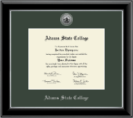 Adams State College Diploma Frame - Silver Engraved Medallion Diploma Frame in Onyx Silver