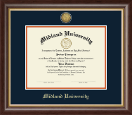 Midland University Diploma Frame - Gold Engraved Medallion Diploma Frame in Prescott