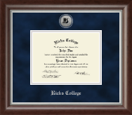 Brigham Young University Idaho Diploma Frame - Silver Engraved Diploma Frame in Devonshire