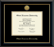 Olivet Nazarene University Diploma Frame - Gold Engraved Medallion Diploma Frame in Onyx Gold