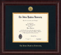 Johns Hopkins University Diploma Frame - Presidential Gold Engraved Diploma Frame in Premier