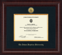 Johns Hopkins University Certificate Frame - Presidential Gold Engraved Certificate Frame in Premier