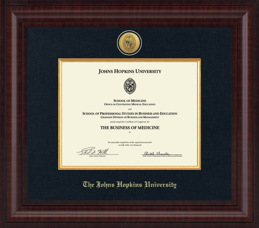 Johns Hopkins University Presidential Gold Engraved Certificate ...