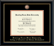 Bowling Green State University Diploma Frame - Masterpiece Medallion Diploma Frame in Onyx Gold