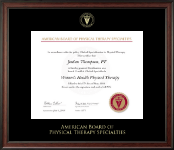 American Board of Physical Therapy Specialties Certificate Frame - Gold Embossed Certificate Frame in Studio