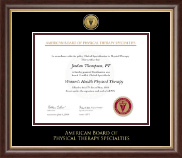 American Board of Physical Therapy Specialties Certificate Frame - Gold Engraved Medallion Certificate Frame in Hampshire