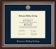 Lebanon Valley College Diploma Frame - Silver Engraved Medallion Diploma Frame in Devonshire