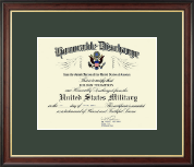 Honorable Discharge Certificate Frame in Studio Gold - Green Mat