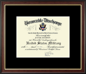 Honorable Discharge Certificate Frame in Studio Gold - Black Mat