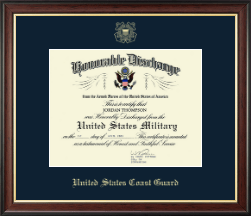 United States Coast Guard Certificate Frame - Honorable Discharge Certificate Frame in Studio Gold