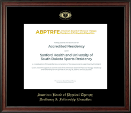 American Board of Physical Therapy Residency & Fellowship Education Certificate Frame - Gold Embossed Certificate Frame in Studio