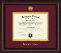 Lafayette College Diploma Frame - Presidential Gold Engraved Diploma Frame in Premier