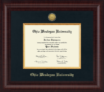 Ohio Wesleyan University Diploma Frame - Presidential Gold Engraved Diploma Frame in Premier