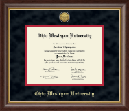 Ohio Wesleyan University Diploma Frame - Gold Engraved Medallion Diploma Frame in Prescott