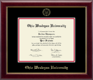 Ohio Wesleyan University Diploma Frame - Gold Embossed Diploma Frame in Gallery