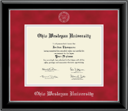 Ohio Wesleyan University Diploma Frame - Silver Embossed Diploma Frame in Onyx Silver
