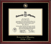 University of Wyoming Diploma Frame - Masterpiece Medallion Diploma Frame in Kensington Gold