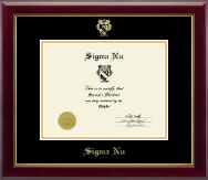 Sigma Nu Fraternity Certificate Frame - Embossed Certificate Frame in Gallery