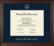 George Fox University Diploma Frame - Gold Embossed Diploma Frame in Studio
