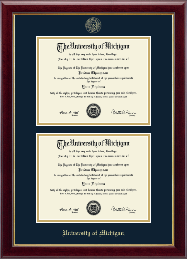 University of Michigan Double Diploma Frame in Gallery - Item ...