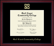 Gulf Coast Community College Diploma Frame - Gold Embossed Academy Edition Diploma Frame in Academy