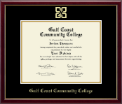 Gulf Coast Community College Diploma Frame - Gold Embossed Diploma Frame in Galleria