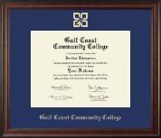 Gulf Coast Community College Diploma Frame - Gold Embossed Diploma Frame in Studio