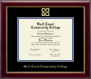 Gulf Coast Community College Diploma Frame - Gold Embossed Diploma Frame in Gallery