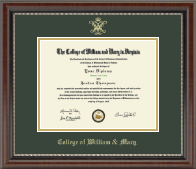 William & Mary Diploma Frame - Gold Embossed Diploma Frame in Chateau