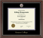 Kenyon College Diploma Frame - Masterpiece Medallion Diploma Frame in Chateau