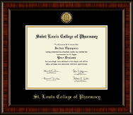 Saint Louis College of Pharmacy Diploma Frame - Gold Engraved Medallion Diploma Frame in Ridgewood