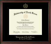 University of North Texas Diploma Frame - Gold Embossed Diploma Frame in Studio