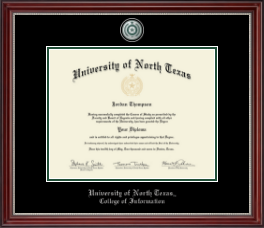 University of North Texas Diploma Frame - Pewter Medallion Diploma Frame in Kensington Silver