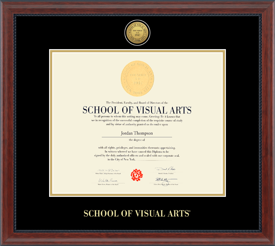 School of Visual Arts Gold Engraved Diploma Frame in Signature ...
