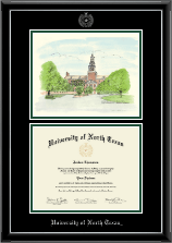University of North Texas Diploma Frame - Campus Scene Diploma Frame in Onyx Silver