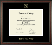 Emerson College Diploma Frame - Gold Embossed Diploma Frame in Studio