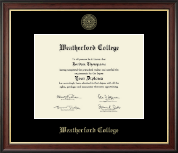 Weatherford College Diploma Frame - Gold Embossed Diploma Frame in Studio Gold