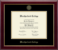 Weatherford College Diploma Frame - Gold Embossed Diploma Frame in Gallery