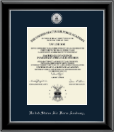United States Air Force Academy Diploma Frame - Silver Engraved Medallion Diploma Frame in Onyx Silver